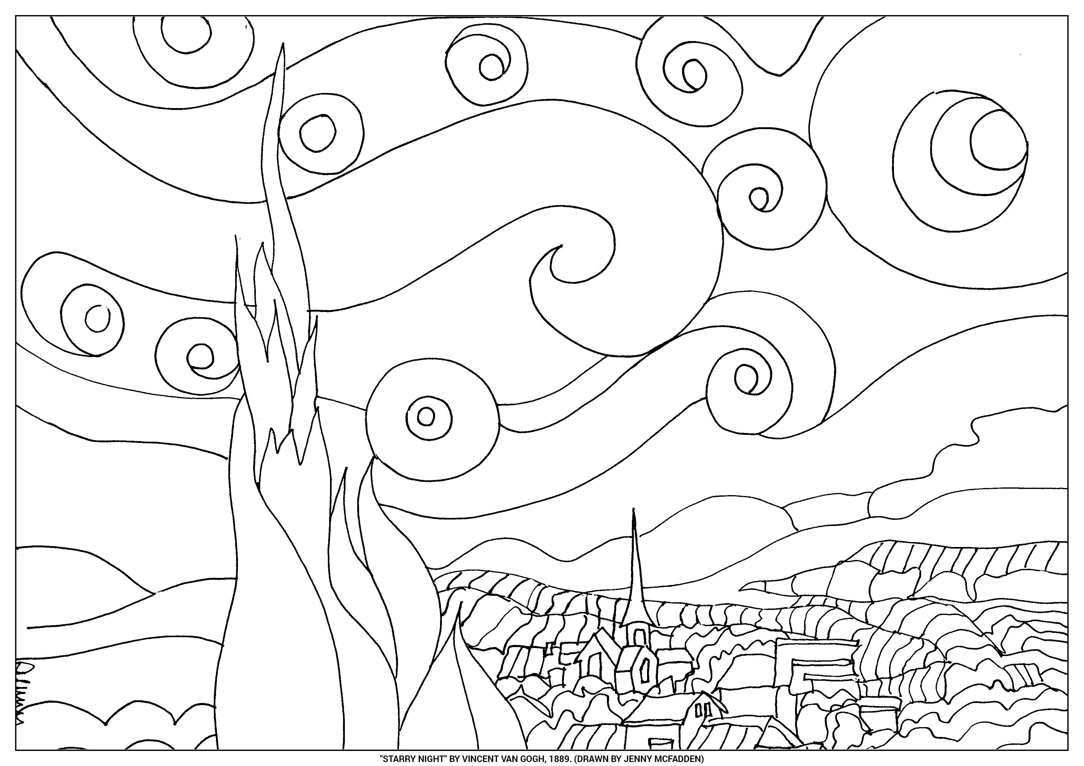 starry night van gogh template final aquarela paisagem. Black Bedroom Furniture Sets. Home Design Ideas