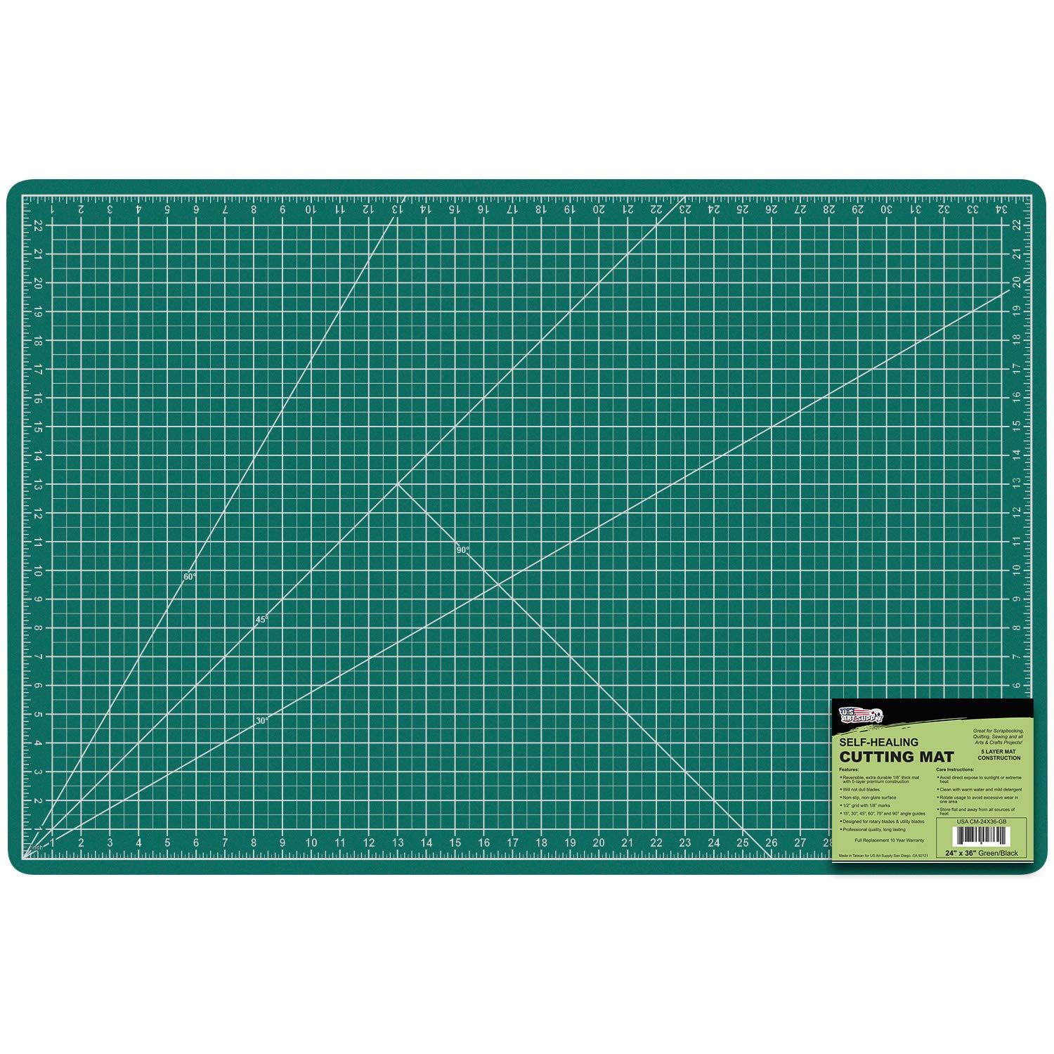 Us Art Supply 24 X 36 Green Black Professional Self Healing 5 Ply Double Sided Durable Non Slip Pvc In 2020 Arts And Crafts Projects Paper Piecing Quilts Craft Table