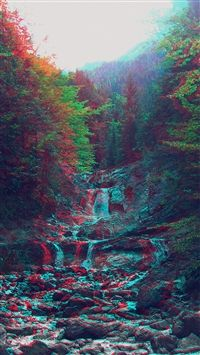 Anaglyph Mountain Green Nature Art Iphone 6 Wallpaper Trippy