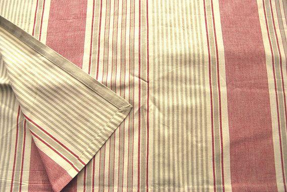 Français nappe rectangle Cinque coutil à rayures rouge et brut