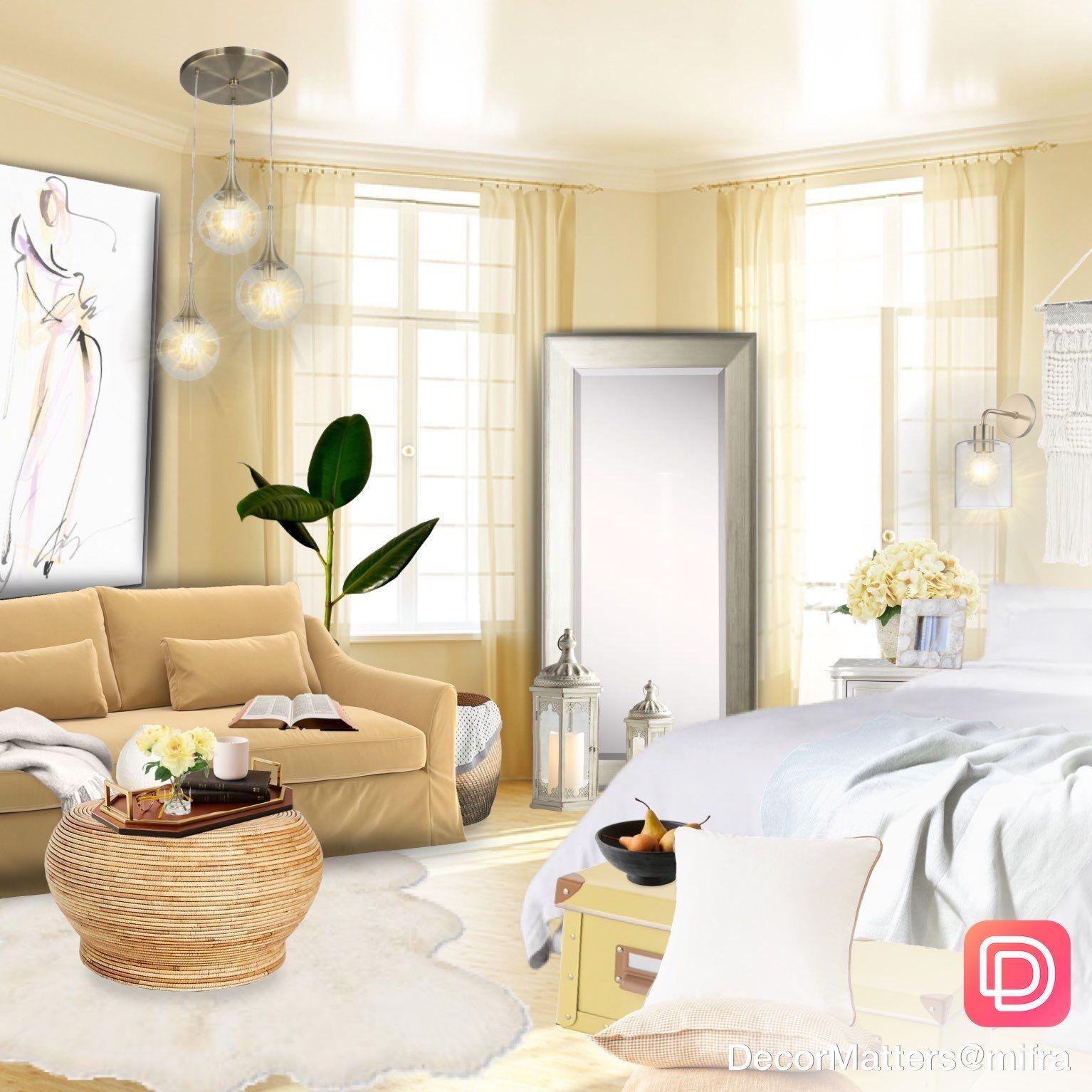 Golden Living Room Inspiration With Floor Mirror In 2020 De