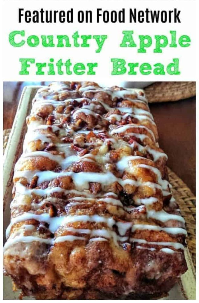 Awesome Country Apple Fritter Bread! Haveyou ever had an apple fritter transformedinto fluffy, buttery, white cake loaf with chunks of juicy apples and layers of brown sugar and cinnamon swirled inside and on top? Drizzle with some old-fashioned creme glaze and devour! It's so moist, so delicious and full of home-made goodness straight from yourheart, because why? Because YOUmade it! #apple #bread #quickbread #fritter #baking #fall #holidays #foodnetwork