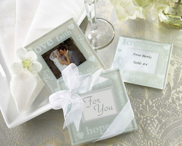 Favor Good Wishes Pearlized Photo Coasters