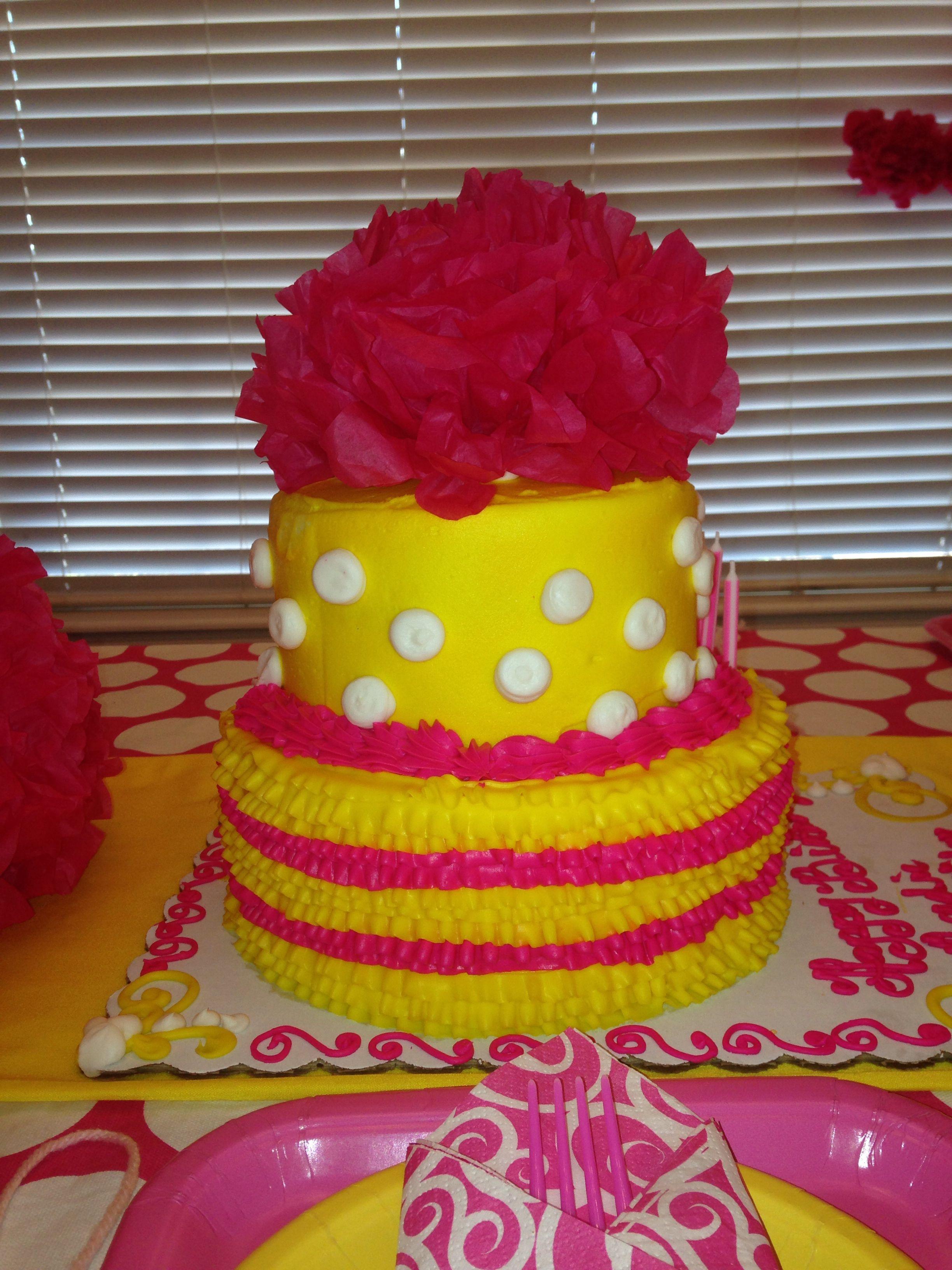 Sensational Pink And Yellow Birthday Cake Yellow Birthday Cakes Sunshine Funny Birthday Cards Online Ioscodamsfinfo