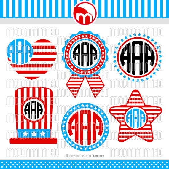 4th of July Monogram Frames SVG Cut Files for Vinyl Cutters, Screen ...
