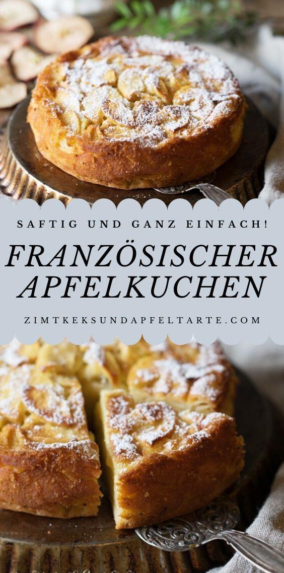 Französischer Apfelkuchen - unglaublich saftig, viele Äpfel, wenig Teig und ein ganz einfaches Rezept. Blitzschnell gebacken in einer kleinen Form von 20 cm ist dieser Kuchen perfekt für die sonntägliche Kaffeetafel. Schmeckt groß und klein und ist super fruchtig! #französisch #apfeltarte #apfelkuchen #saftig #fruchtig #gelingsicher #einfach #rezept #backen #zimtkeksundapfeltarte