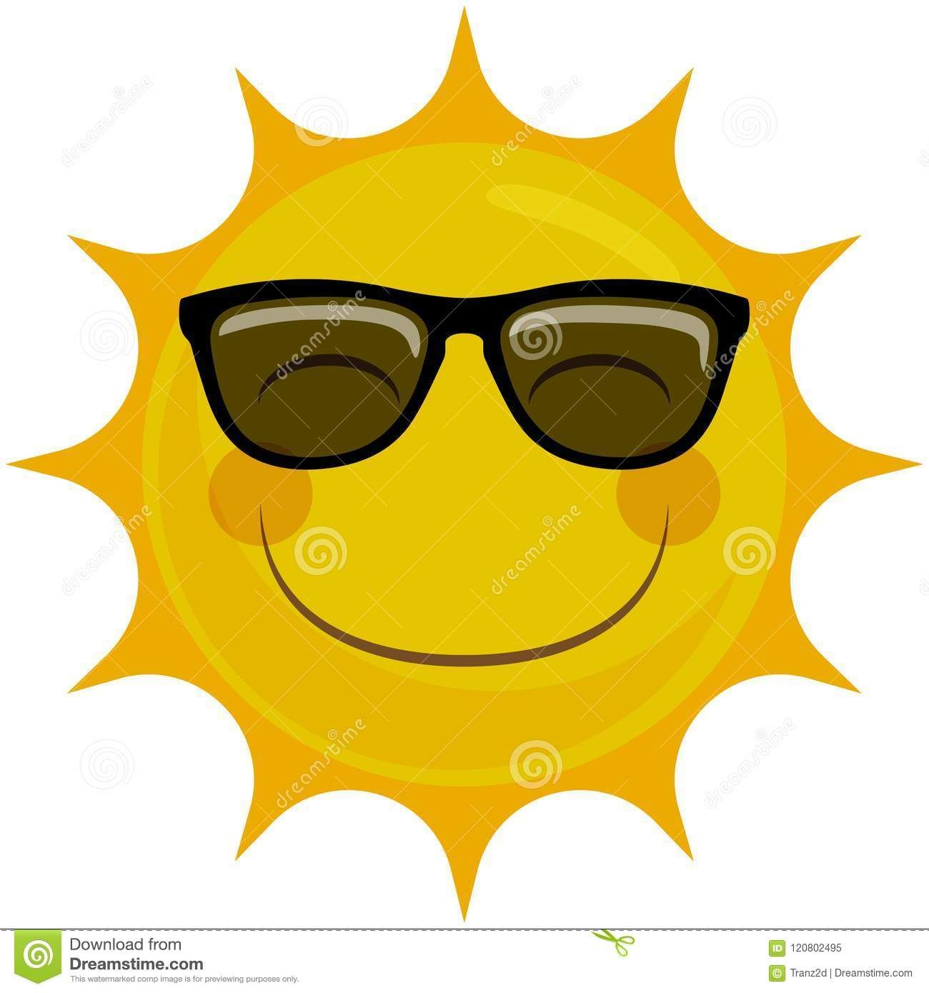 Happy Smiling Sun Character With Sunglasses Illustration About Glad Representing Cute Happiness Shining Heat Fac Cute Sun Drawing Sunglasses Smiling Sun