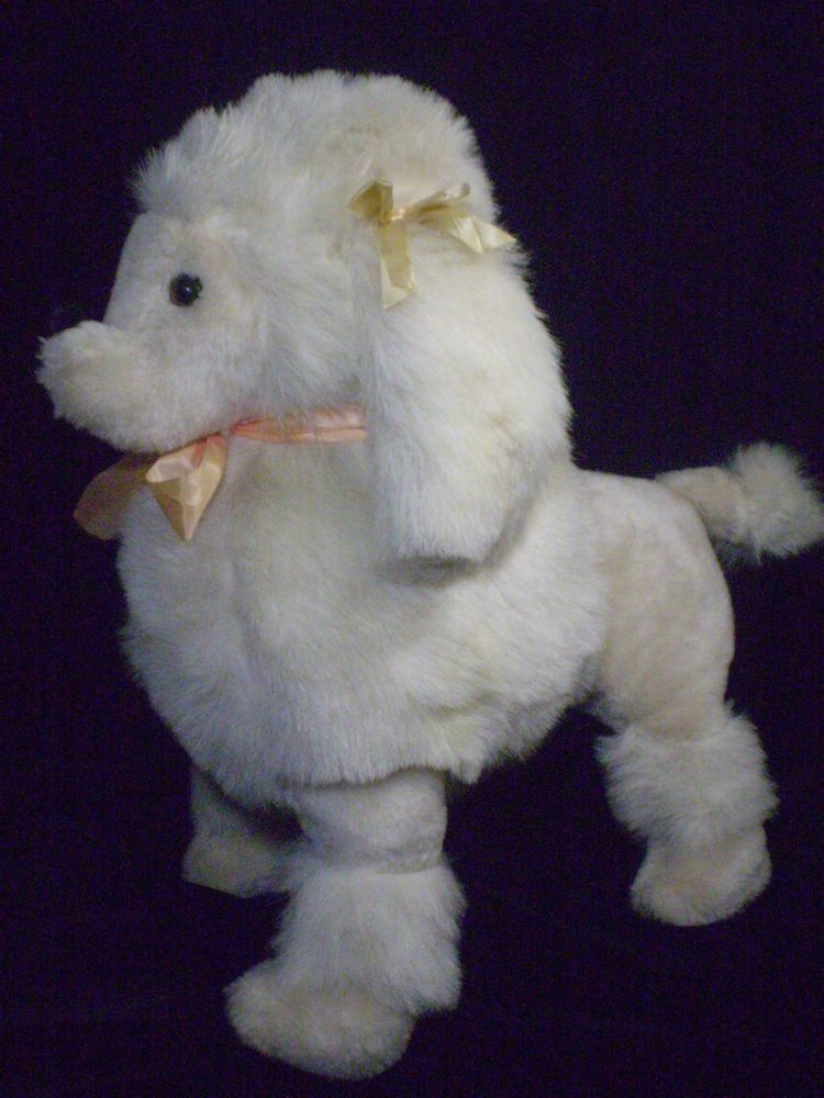 Rare Vintage Dakin Pillow Pets 22 White French Poodle Puppy Dog Stuffed Plush Animal Pillows Poodle Puppy Dogs And Puppies