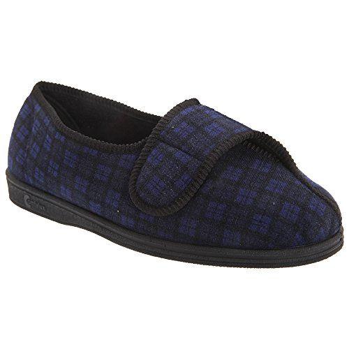 Comfylux Stella Damen Hausschuhe / Pantoffeln mit Klettverschluss, besonders weite Passform (42 EUR) (Schwarz)