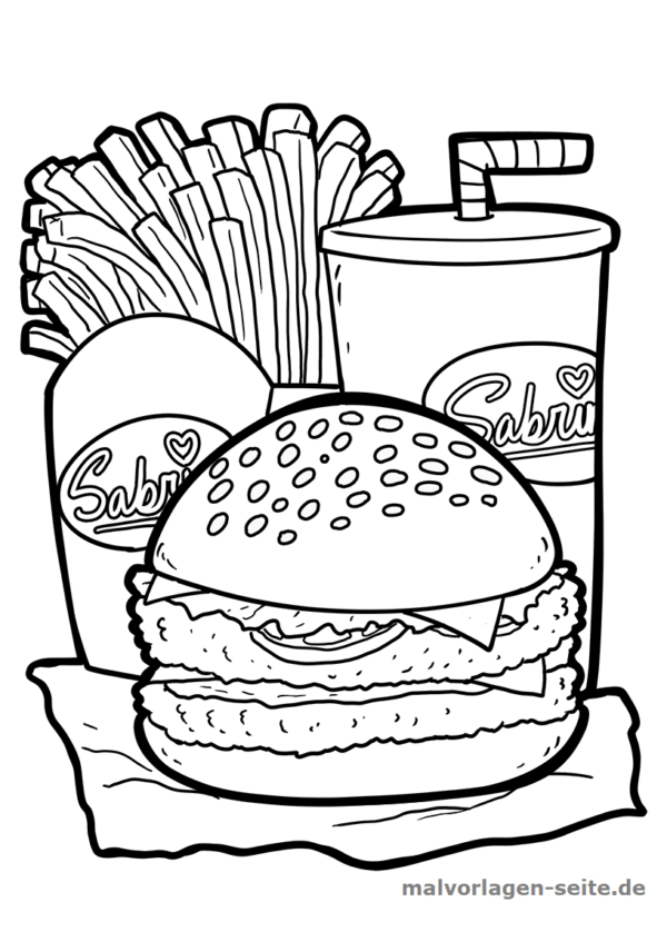 Malvorlage Burger | Kostenlose malvorlagen, Burger und Malbücher