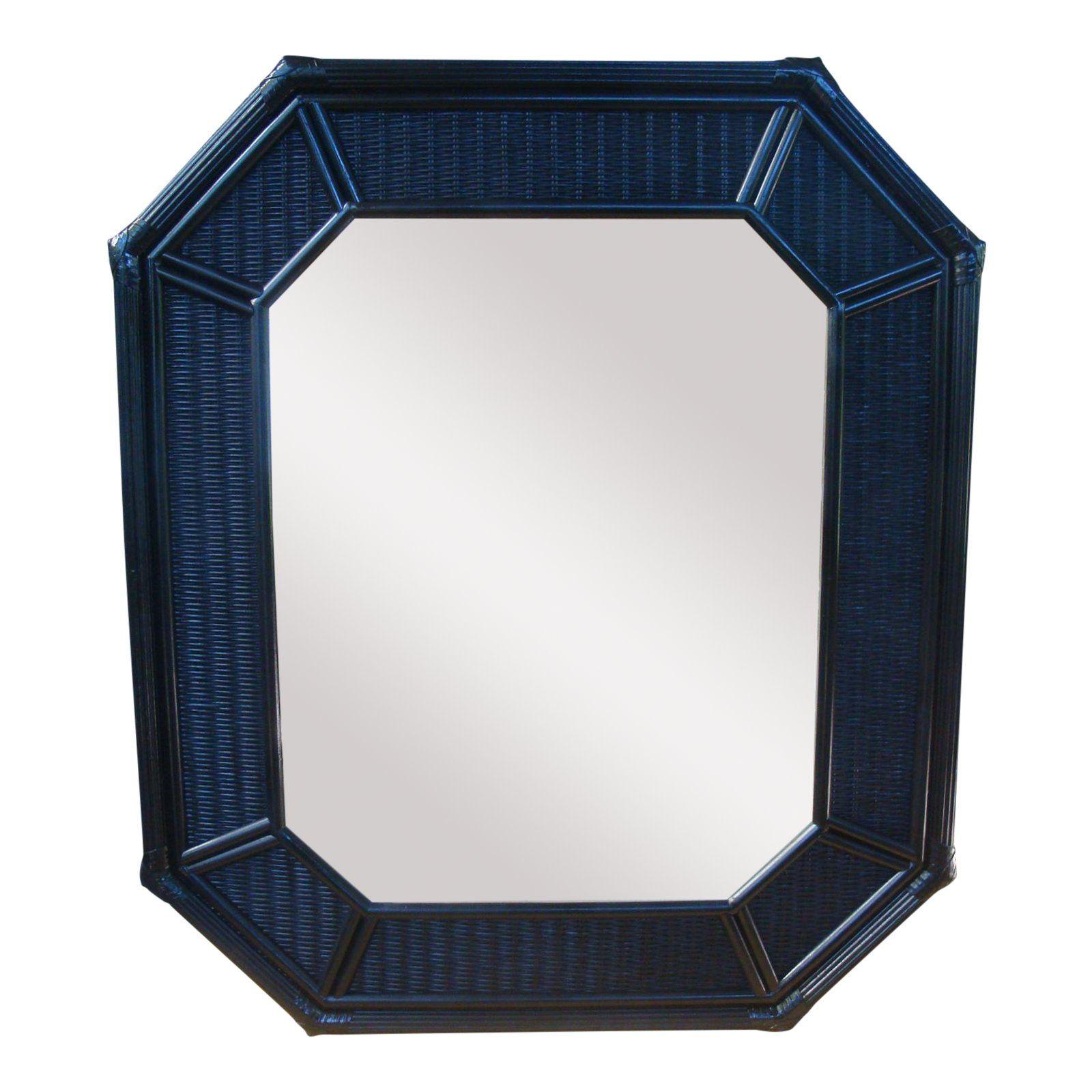 42 Quot Chinoiserie Black Octagonal Rattan Wicker Mirror