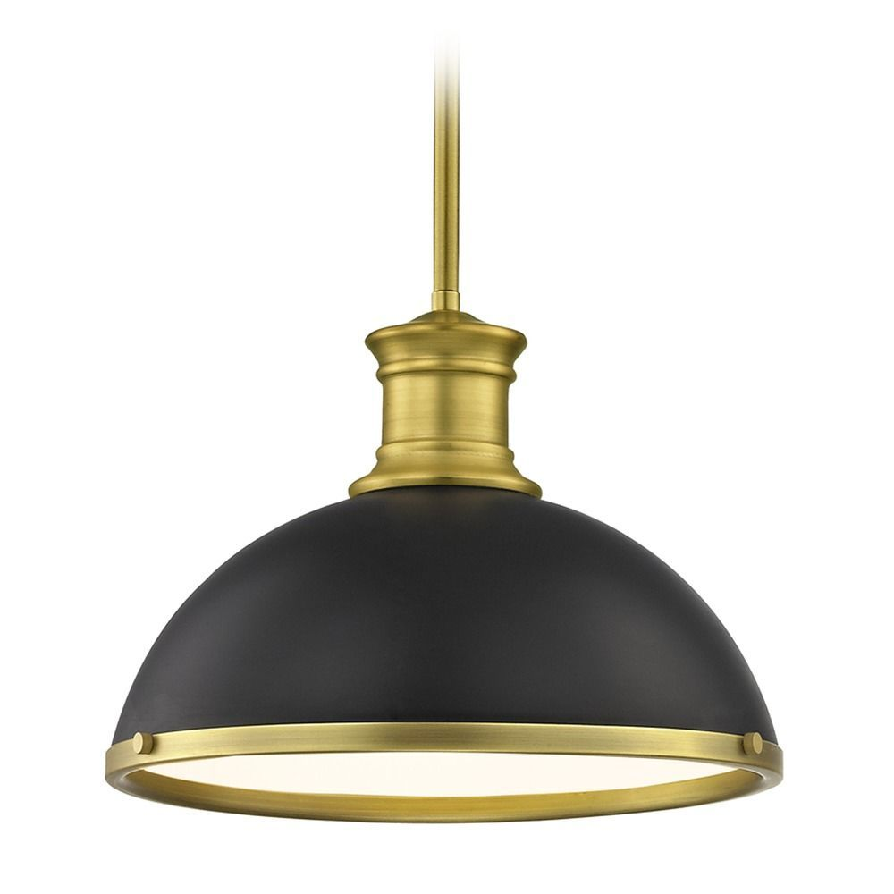 Farmhouse black pendant light with brass 1338inch wide