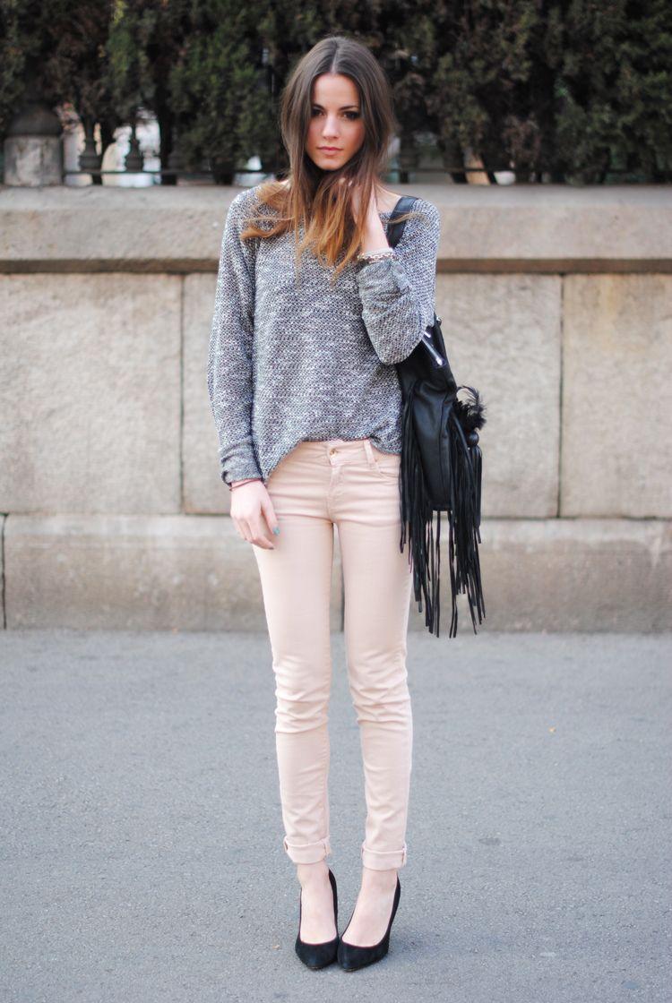 loose sweater, skinnies