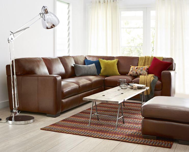 Freedom London Modular Sofa In Randolph Chestnut Leather 3899