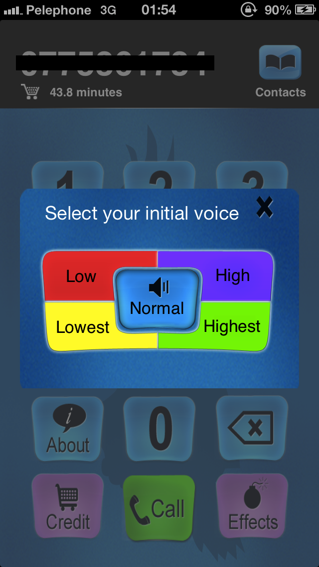 Call Voice Changer initial voice selection you can
