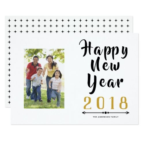 Happy New Year 2018 calligraphy script photo Holiday Card | Zazzle.com