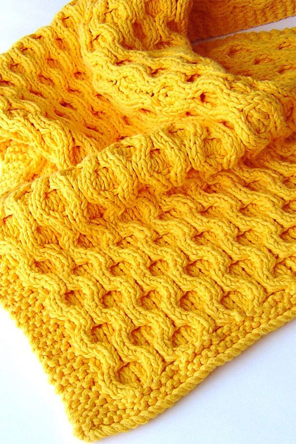 Knitting Pattern for Easy Honeycomb Baby Blanket - This ...