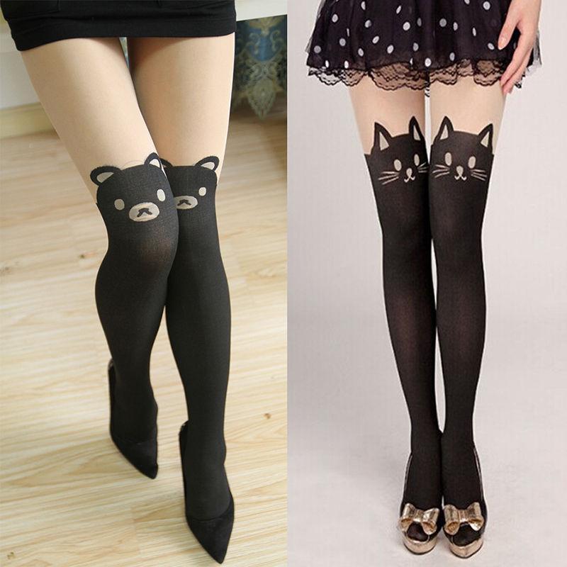 7e5d70c84eb  3.1 - Black Cat Bear Tattoo Women Hosiery Socks Sheer Stockings Tights  Fashion Style  ebay  Fashion
