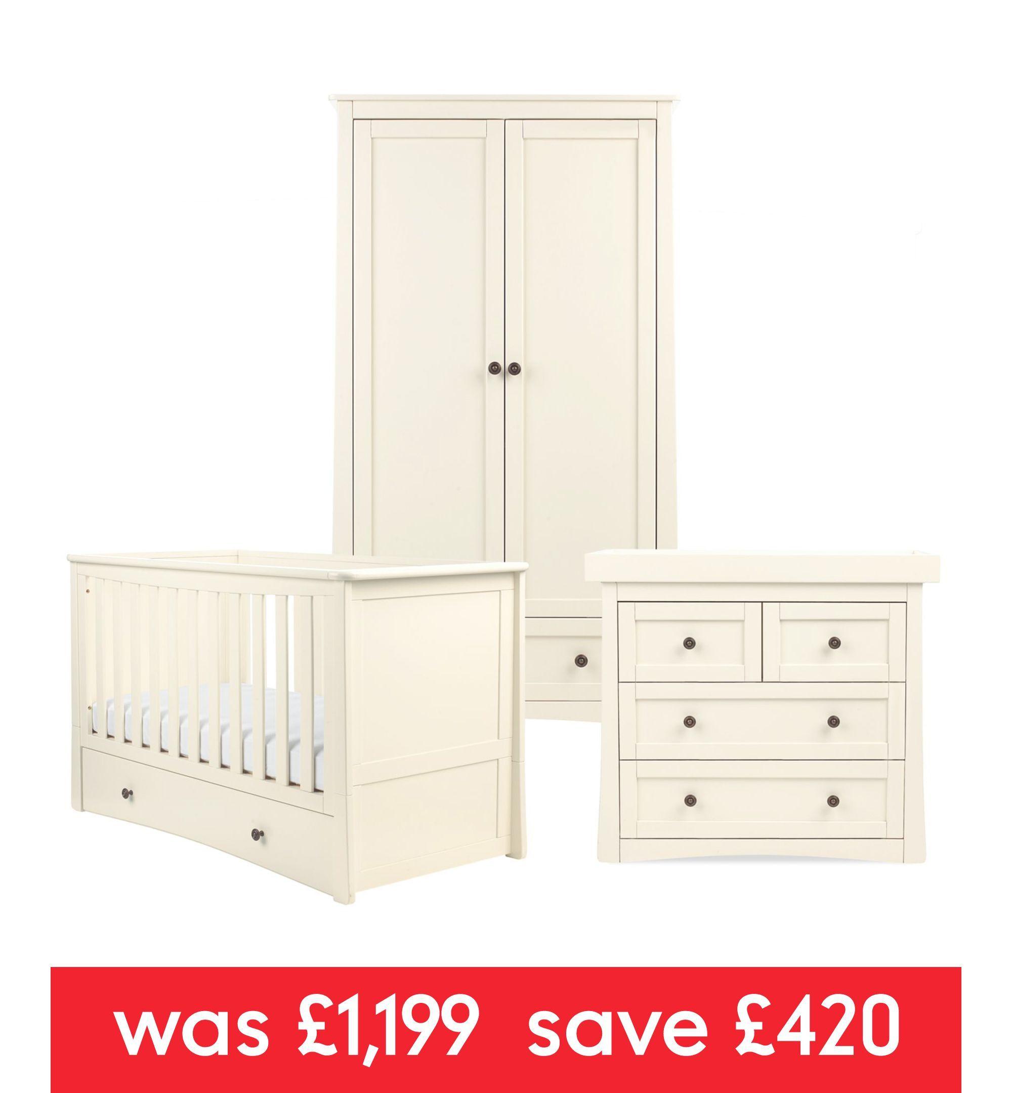 Mothercare Harrogate 3-piece Nursery Furniture Bundle - Almond ...