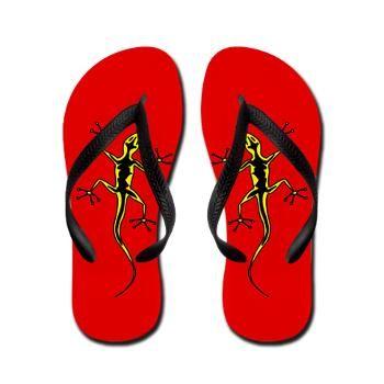 Yellow Salamanders Flip Flops