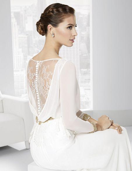 Traje de novia línea romántica en gasa con espalda de chantilly ...