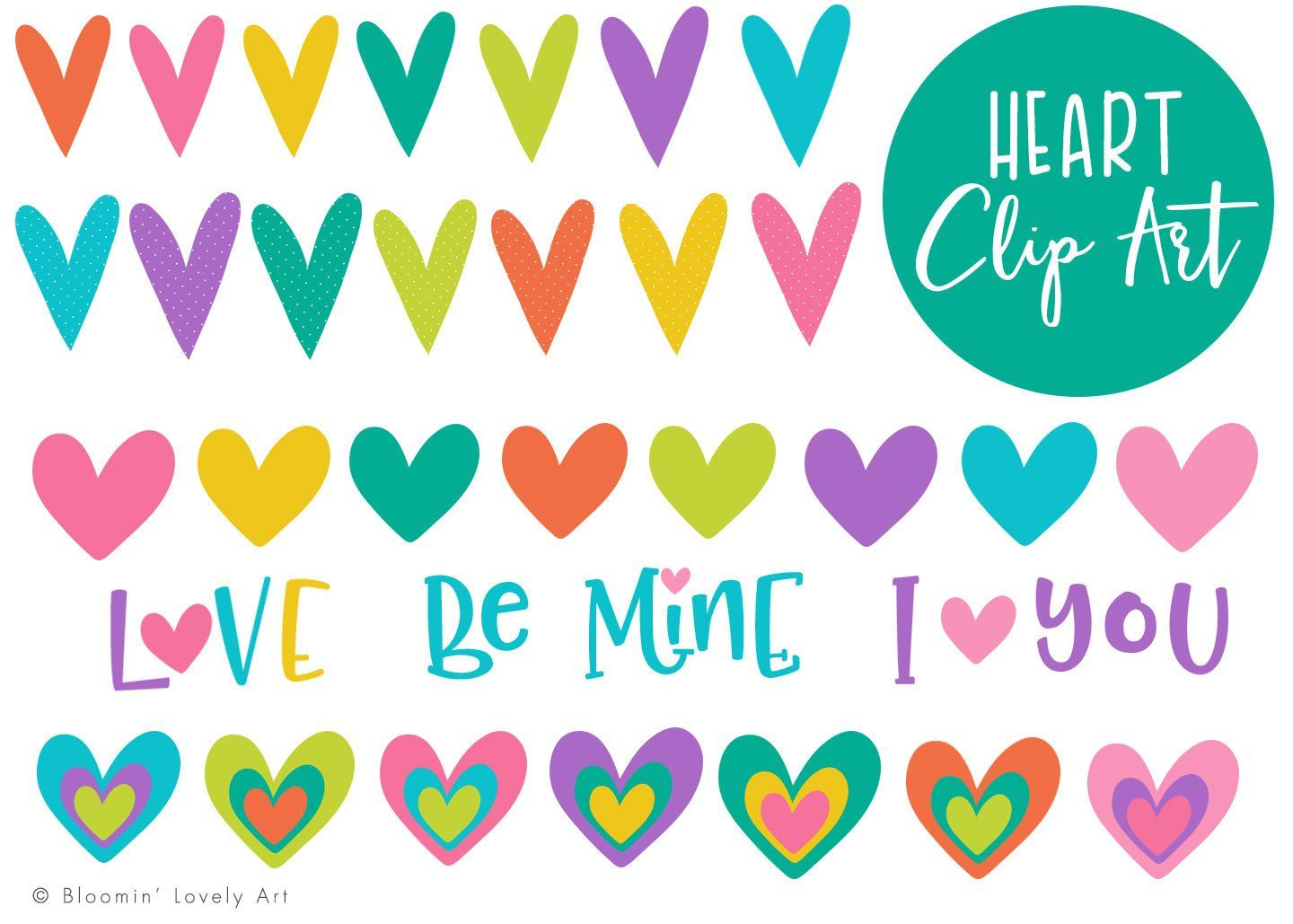 Heart Clip Art Colorful Hearts Clipart Valentines Clip Art