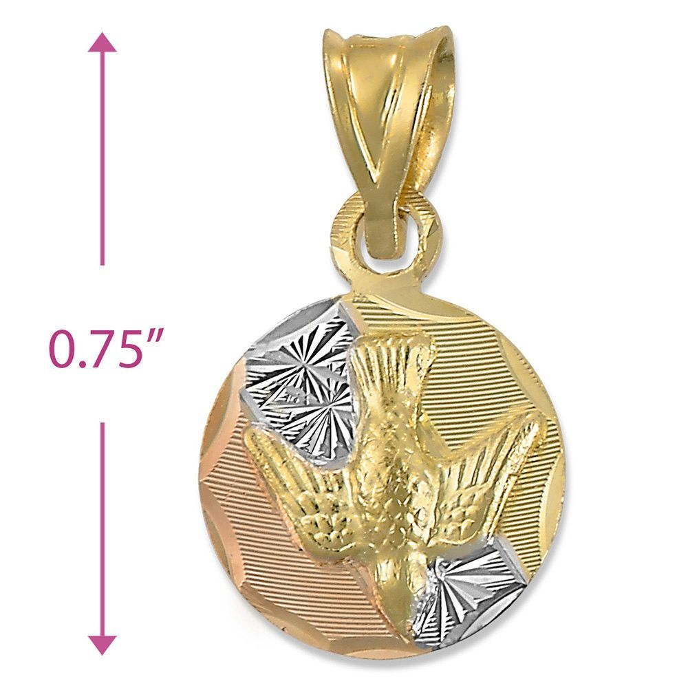 Tricolor tritone inch round bird pendant charm k yellow gold