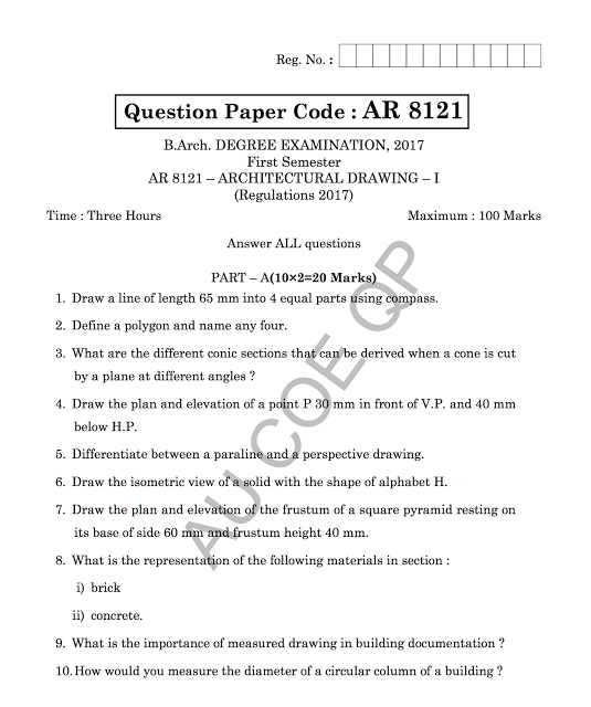 AR8121: Architectural Drawing-I Question Papers 2018 [Model