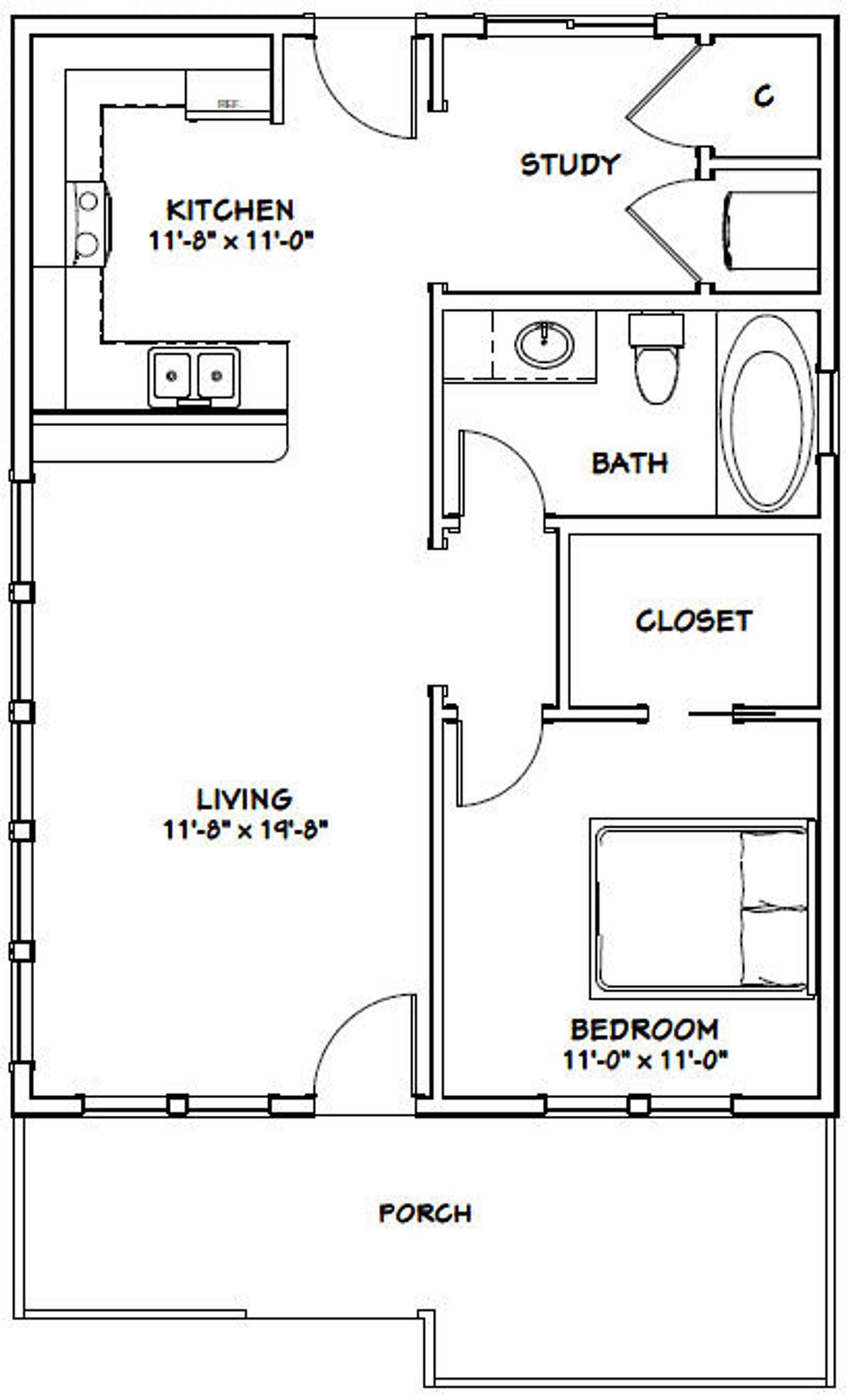 24x32 House 1 Bedroom 1 Bath 768 Sq Ft Pdf Floor Plan Instant Download Model 1 1 Bedroom House Plans One Bedroom House Tiny House Floor Plans