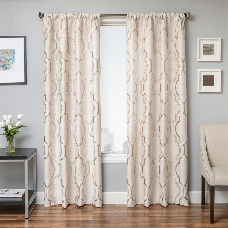 Tryst Curtain Panels With Large Scale Moroccan Tile Pattern. Available In  Extra Long 108 Inch