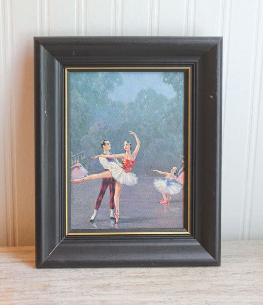 Framed Ballerina Art Painting - Vintage Ballet Decor Art Nouveau ...