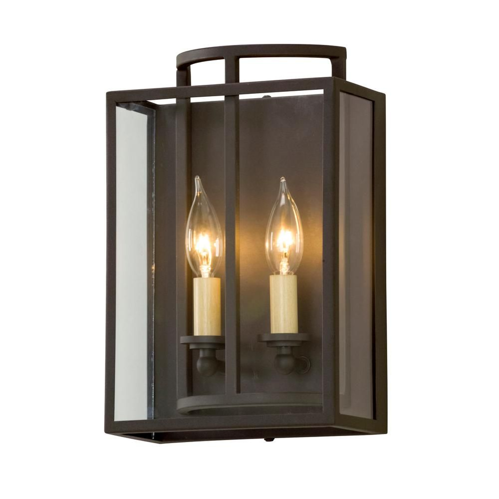 Troy Lighting Maddox 2-Light Textured Bronze Wall Mount Sconce ...
