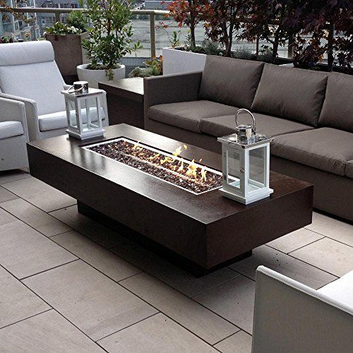 """Dreffco 30"""" x 72"""" Custom Outdoor Rectangular Fire Pit Table with CSA"""