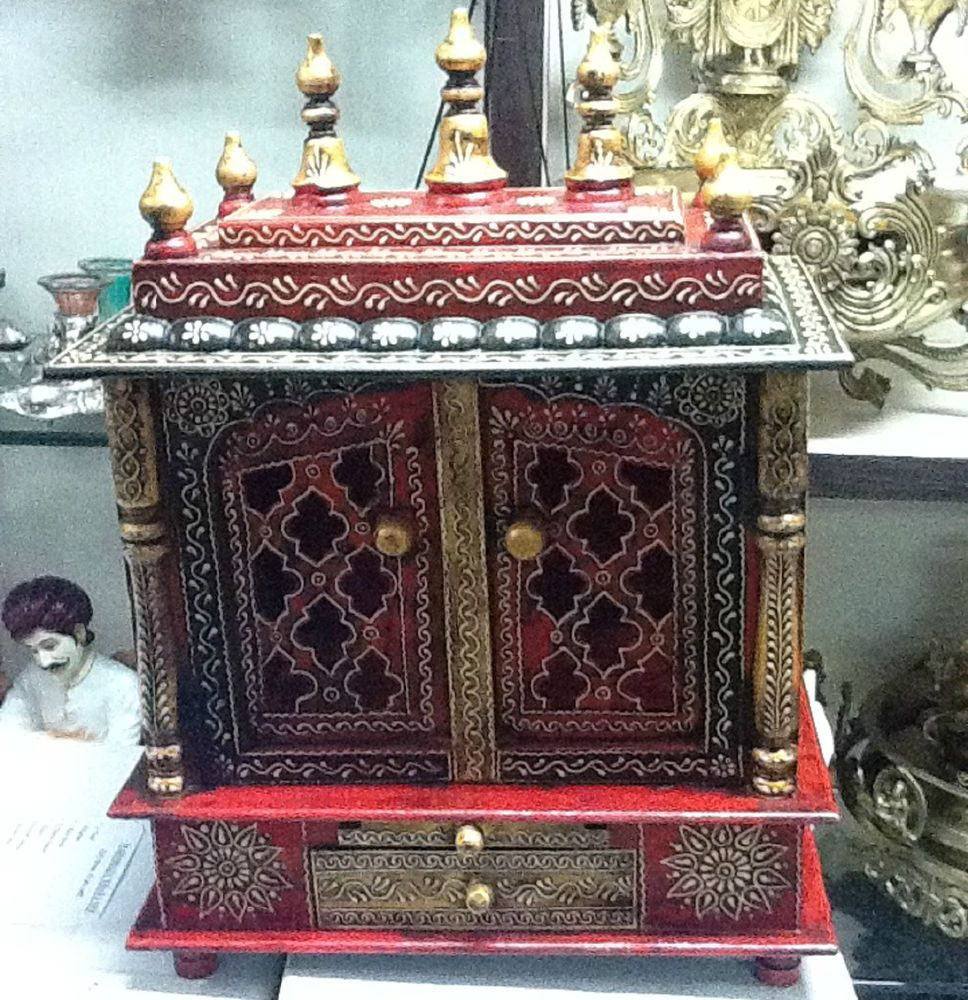 Mandir Big Pooja Mantapa Wood Wooden Work Painting With