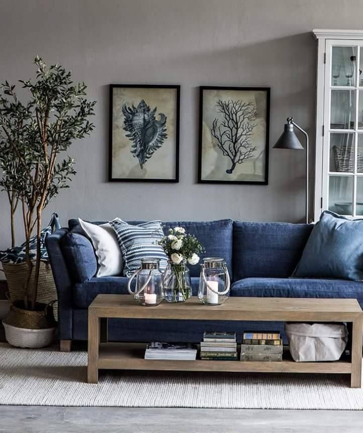 Image Result For Gray Walls Blue Couch Blue Furniture Living Room Blue Sofas Living Room Blue Sofa Living