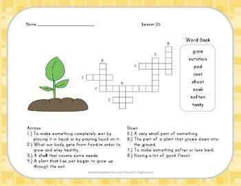 Crossword Puzzle From Seed To Plant Journeys Aligned