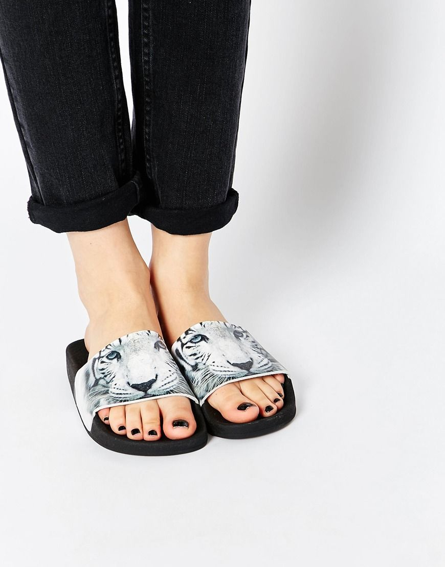 Buy Women Shoes / The White Brand Tiger Slider Flat Sandals