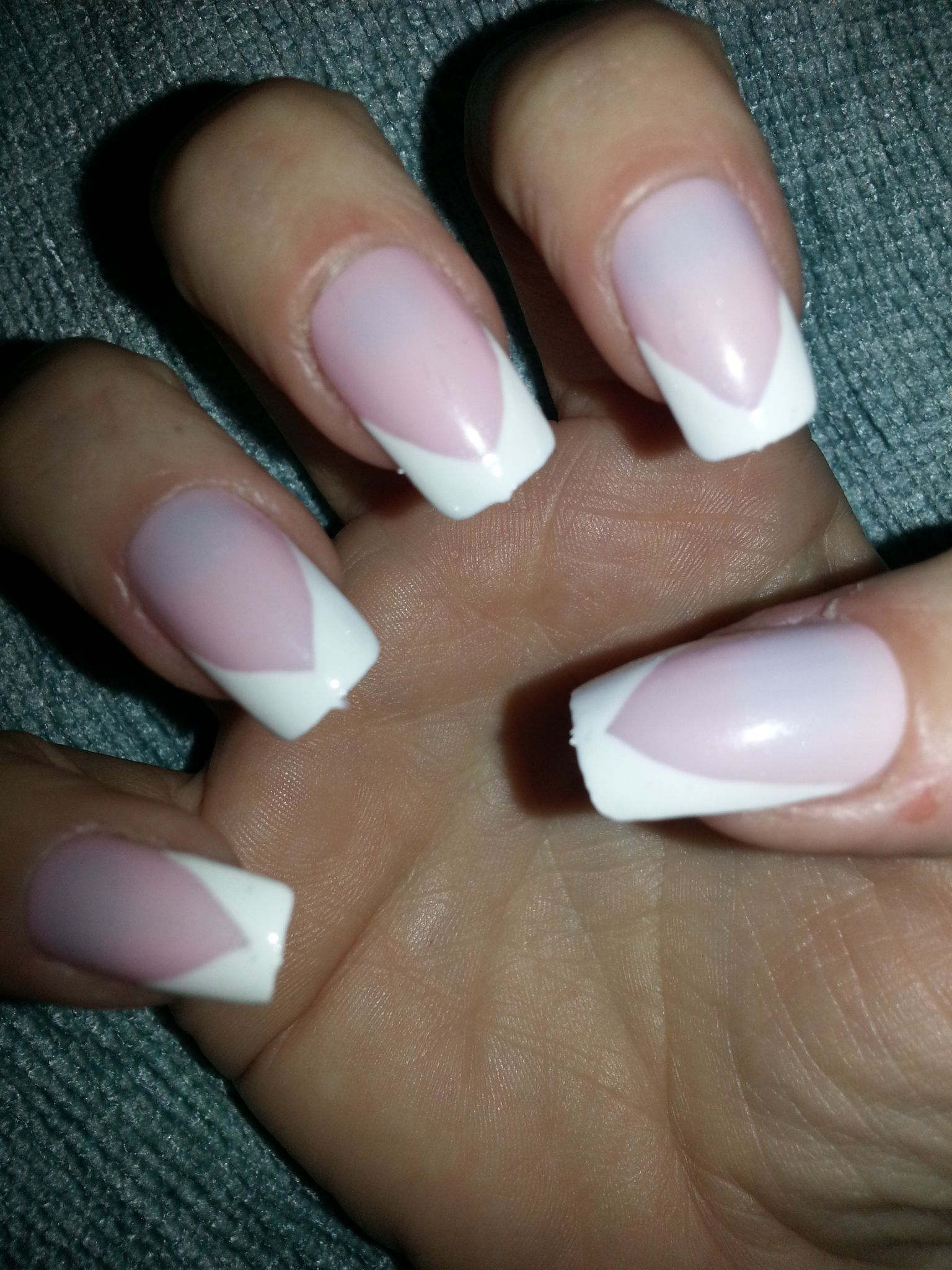 Hand painted false nails in the classic french manicure design with ...