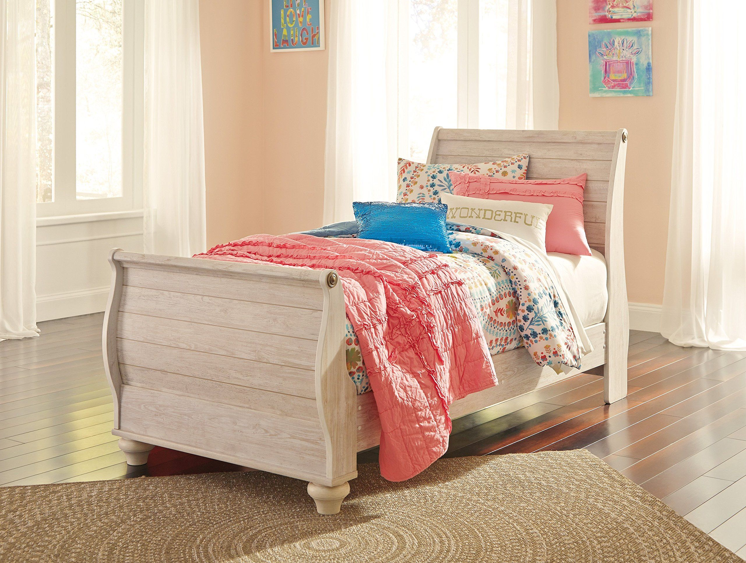 Ashley Willowton Twin Sleigh Bed In White Visit the image link
