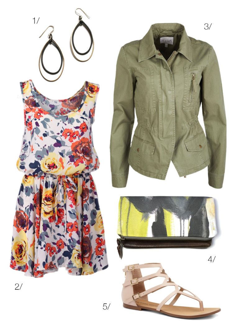 what to wear to an outdoor craft show: floral print dress and military jacket via megan auman