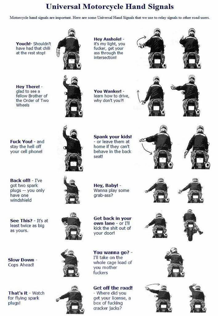 Universal Motorcycle Hand Signals Universal Motorcycle Hand