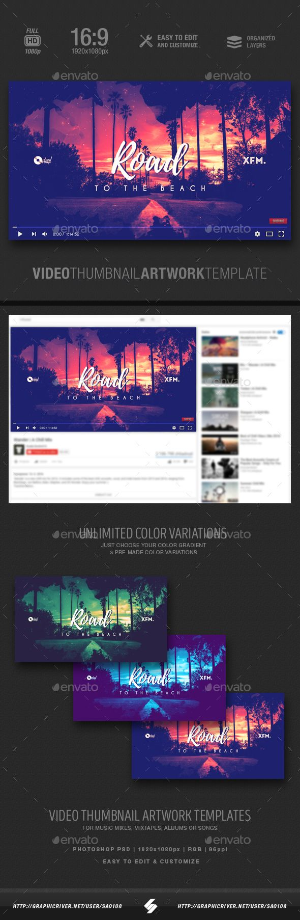 Youtube house music video thumbnail artwork template Music mix