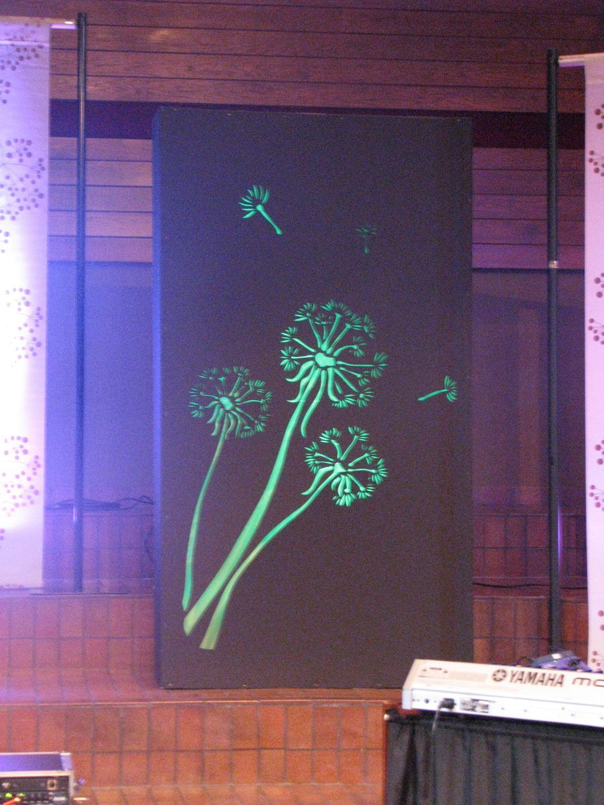 New Hope Church MN set design Dandelion seed head black box using