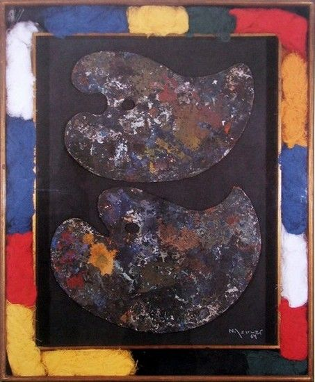 Nelson Leirner - Autorretrato, 1964, óleo sobre madeira e linha, 110 x 90 cm