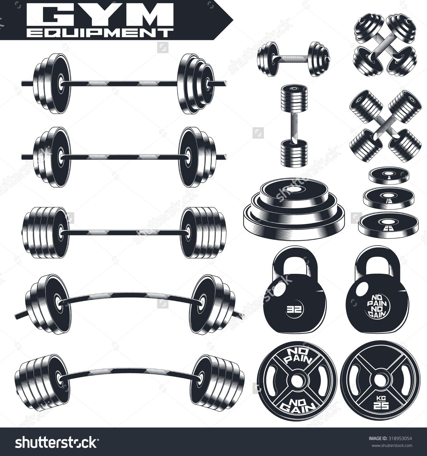 Gym Equipment Logo: Gym Equipment Of Vintage Fitness. Design Elements. Emblem