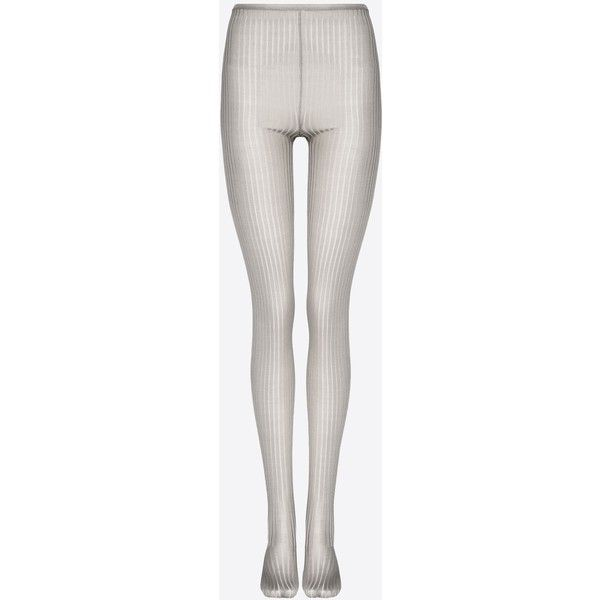 Valentino Ribbed Silk Tights (510 BRL) ❤ liked on Polyvore featuring tops, grey, ribbed top, silk top, grey silk top, gray top and tall tops