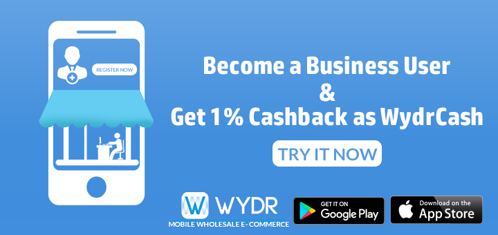 become a business user and enjoy 1 cashback as wydrcash on every