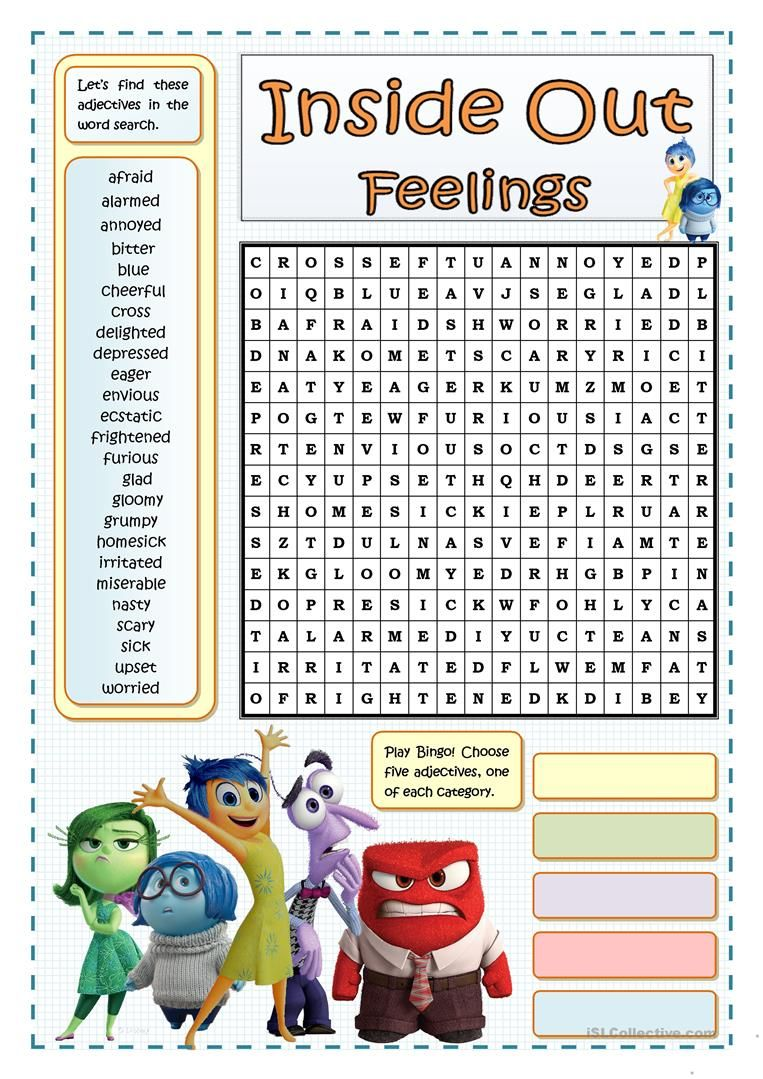 INSIDE OUT FEELINGS WORDSEARCH worksheet Free ESL printable