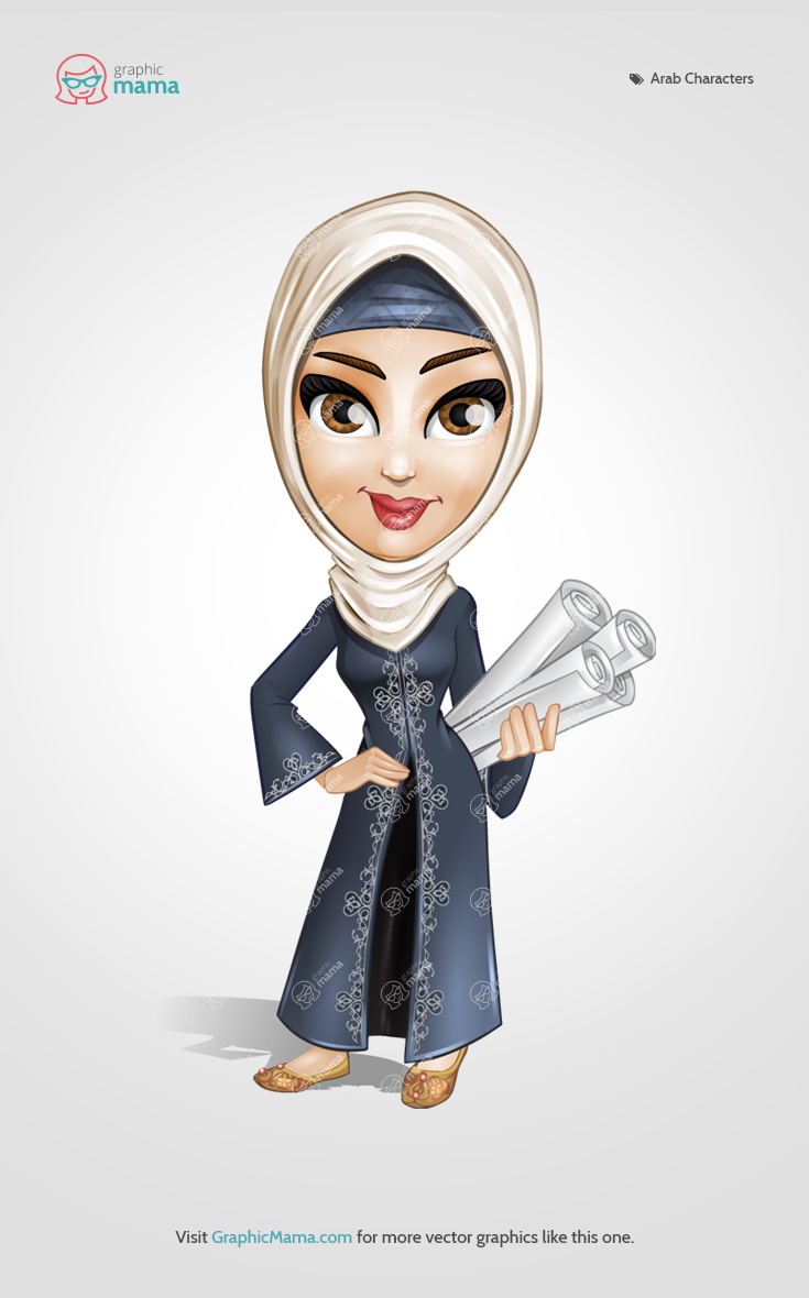 A female character of Arab origin wearing an embroidered traditional