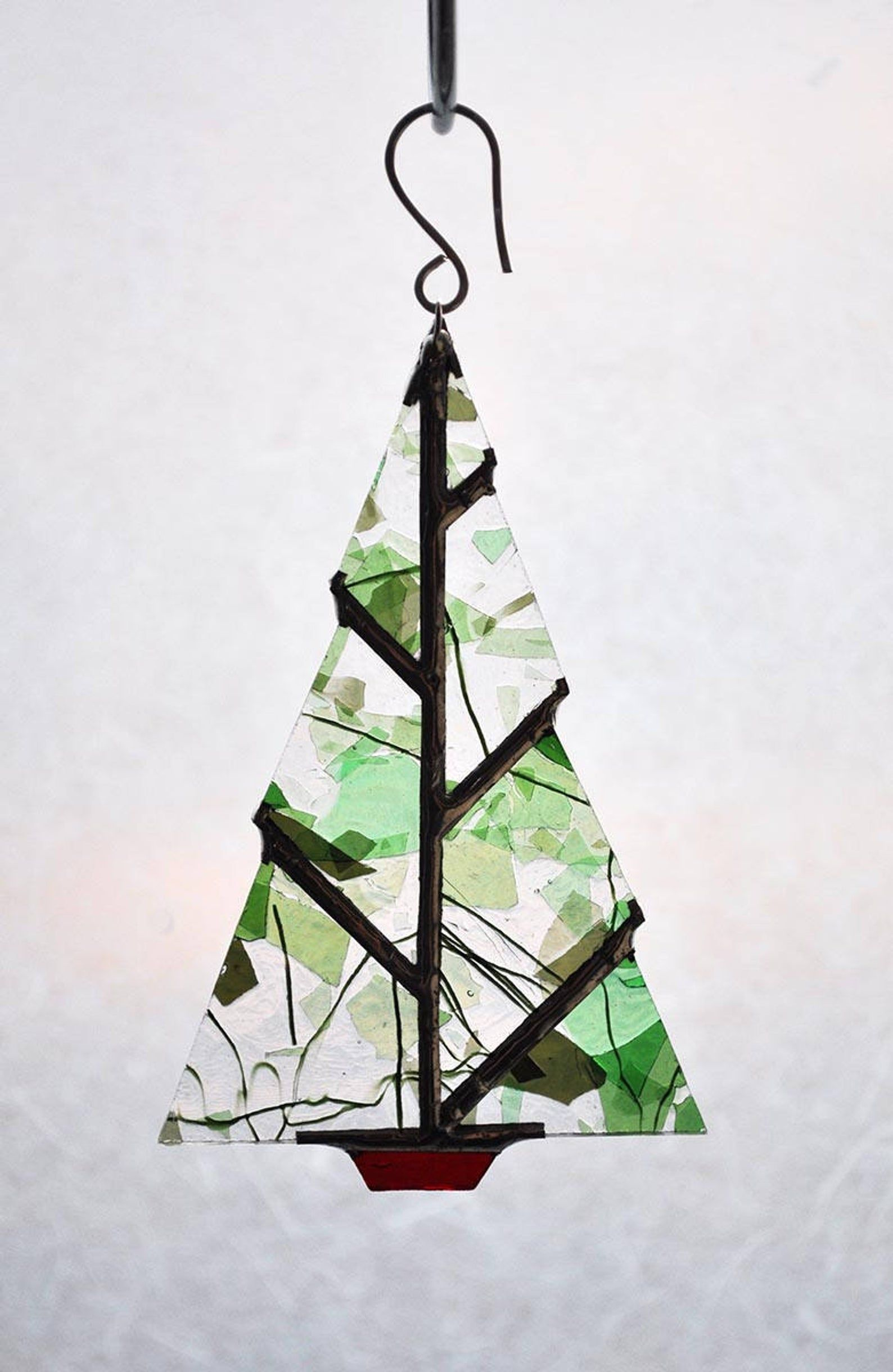 Minimal Christmas Tree Ornament Stained Glass Christmas Glass Christmas Tree Ornaments Glass Christmas Ornaments